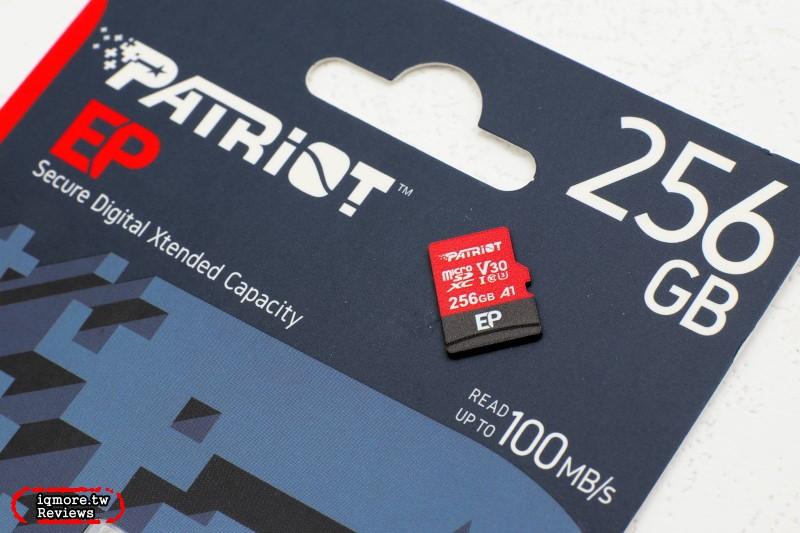 不到千元高CP值選擇,美商博帝 Patriot EP MicroSDXC UHS-1 U3 V30 A1 256GB 記憶卡評測